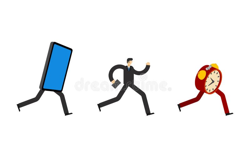 Man run away smartphone. Businessman runs for alarm clock. To be late. Time is running out. Man running after time. Concept stop. Online. Escape from internet vector illustration