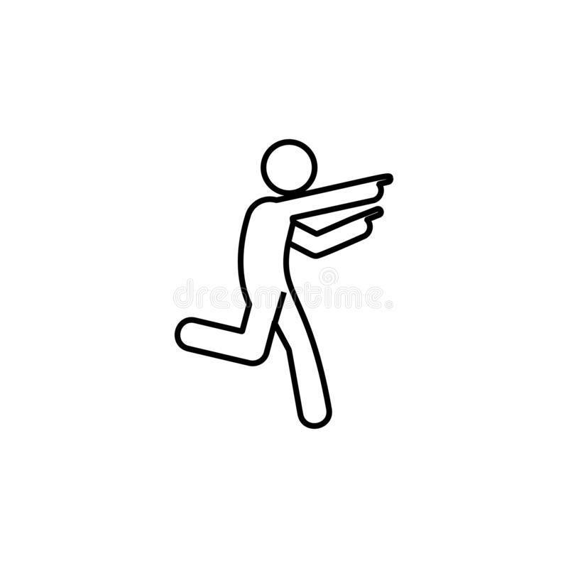 Man run, finger icon. Element of man pointing finger thin line icon. On white background royalty free illustration