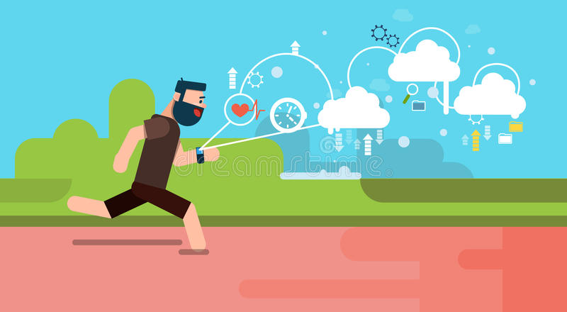 Man Run Fitness App Tracker Wearable Technologies Smart Watch Flat. Vector Illustration royalty free illustration