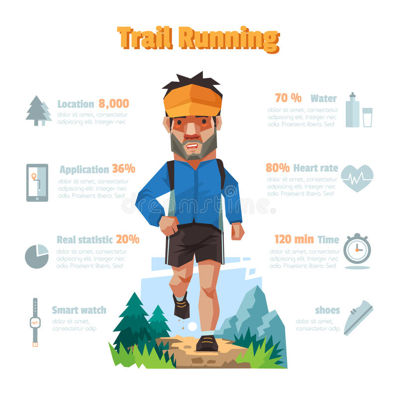 A man run in the forrest, Trail running, Infographic elements. A man run in the forrest, Trail running, Infographic elements, Vector illustration vector illustration