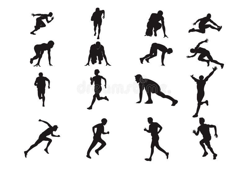 Man Run Silhouette Design Element Athletics Sport Pose.  royalty free illustration