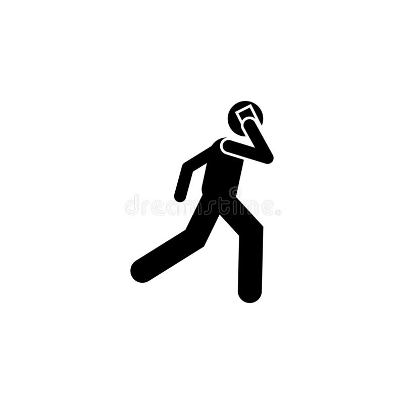 Man, run, talking phone icon. Element of human use phone. Premium quality graphic design icon. Signs and symbols collection icon. For websites, web design vector illustration