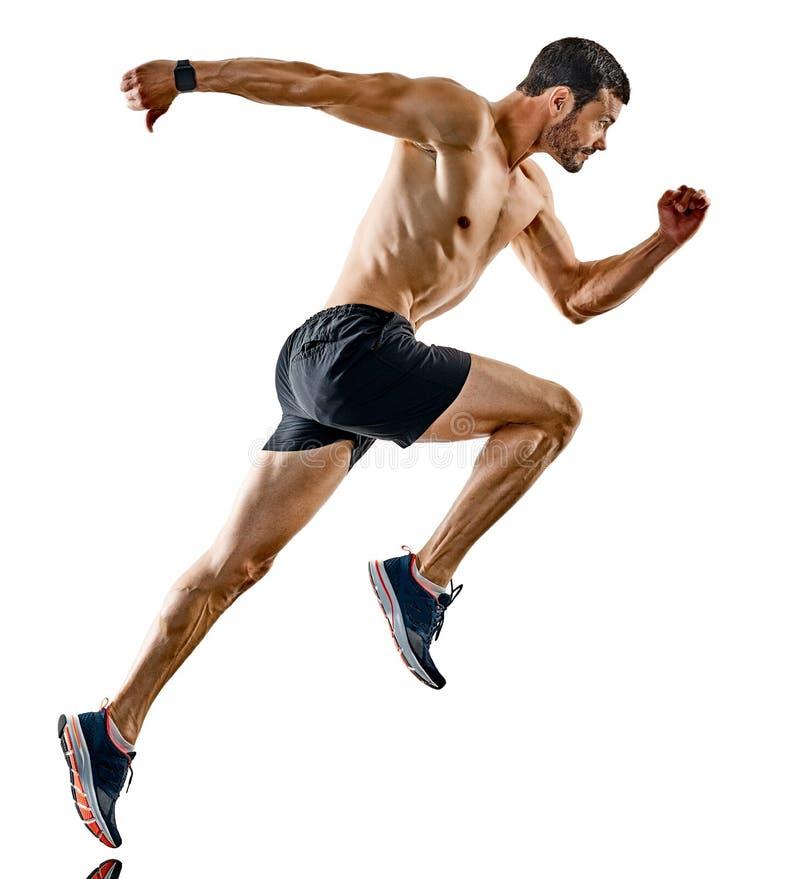 Man runner jogger running jogging isolated shadows royalty free stock image