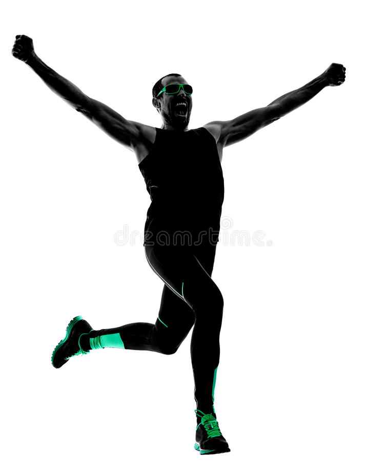 Man runner running jogging jogger silhouette royalty free stock photography