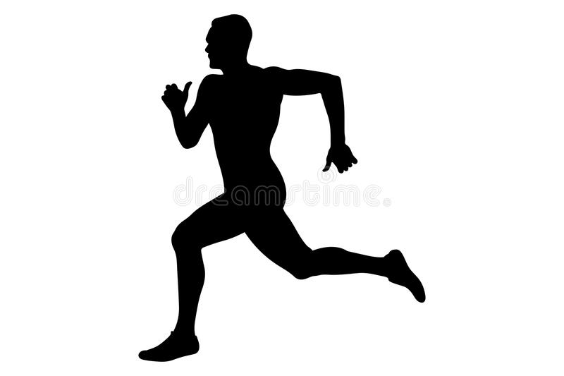 Man runner sprinter black silhouette. Competition in athletics stock illustration