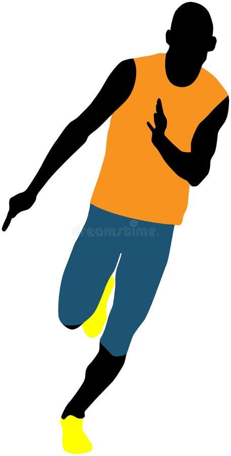 Man runner sprinter. Muscular man runner sprinter running vector illustration royalty free illustration