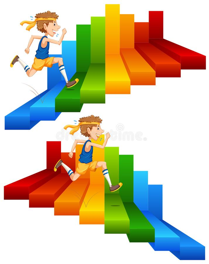 A Man Running on Colourful Stair stock illustration