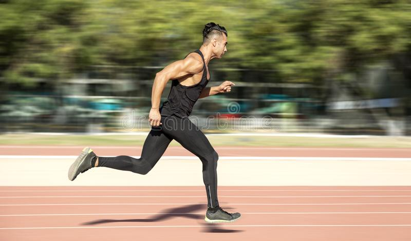 Man running fast stock image