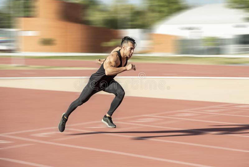 Man running fast stock photography