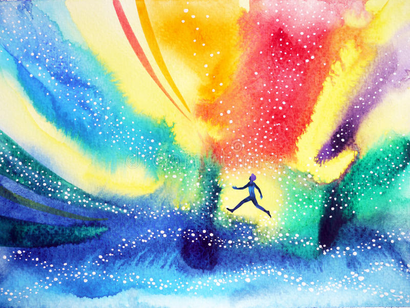 Man running, flying in the colorful universe, watercolor painting stock illustration