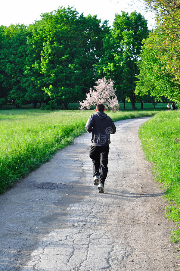 Download Man running in green park stock image. Image of blue - 12165797