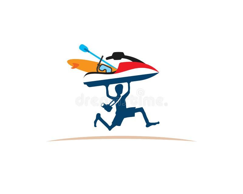 Man running lifting speedboat surfboard diving google. Man running happily lifting speedboat surfboard diving google goes to beach for holiday vector illustration
