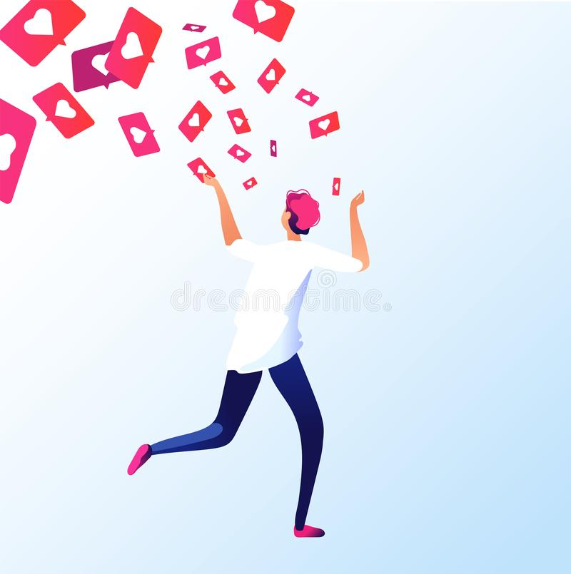 Man running of like notifications. Social media addictions attract attention guy grabbing like notification online royalty free illustration