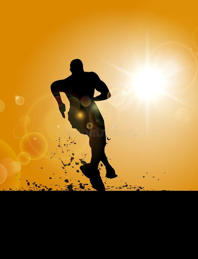 A man running on the field under sunset. A Man Running On The Mud Under Sunset royalty free illustration