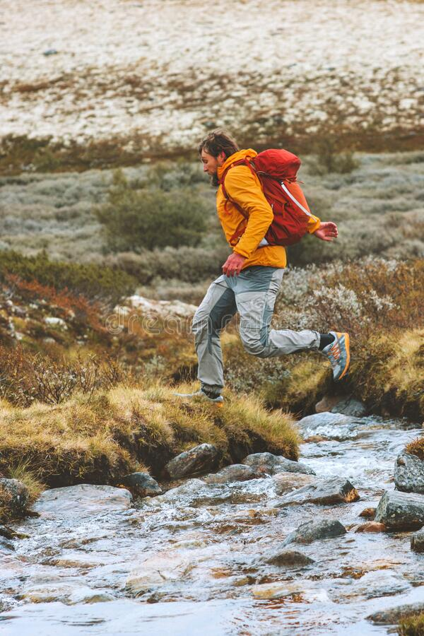 Man running outdoor adventure travel active vacations royalty free stock photography