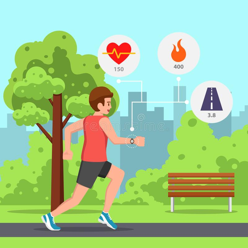 Man running the park with heart rate monitor watch. Young man running or jogging in the park with heart rate monitor watch vector illustration