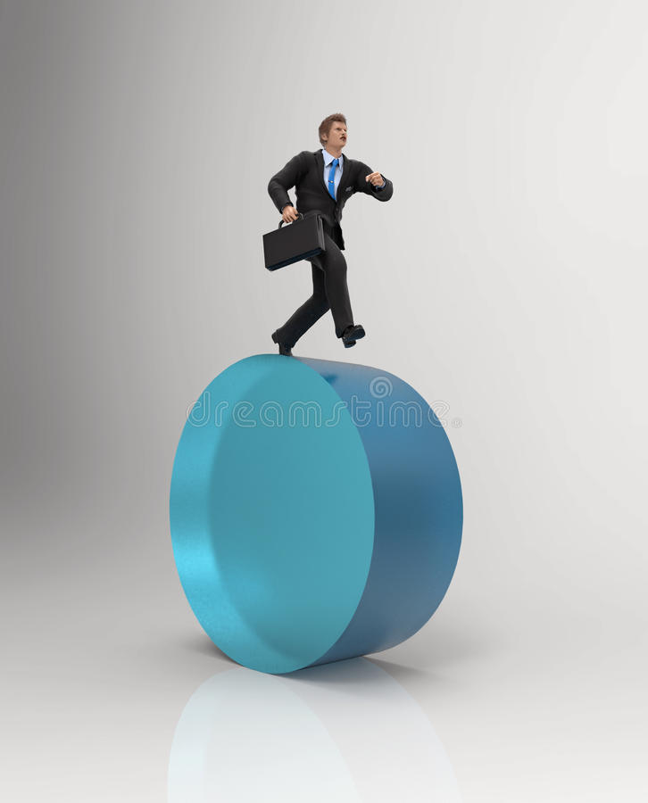 Man running at the same place. Businessman running at the same place vector illustration
