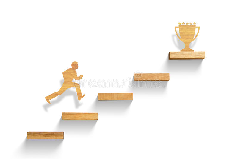Man running on stairs to success stock photo