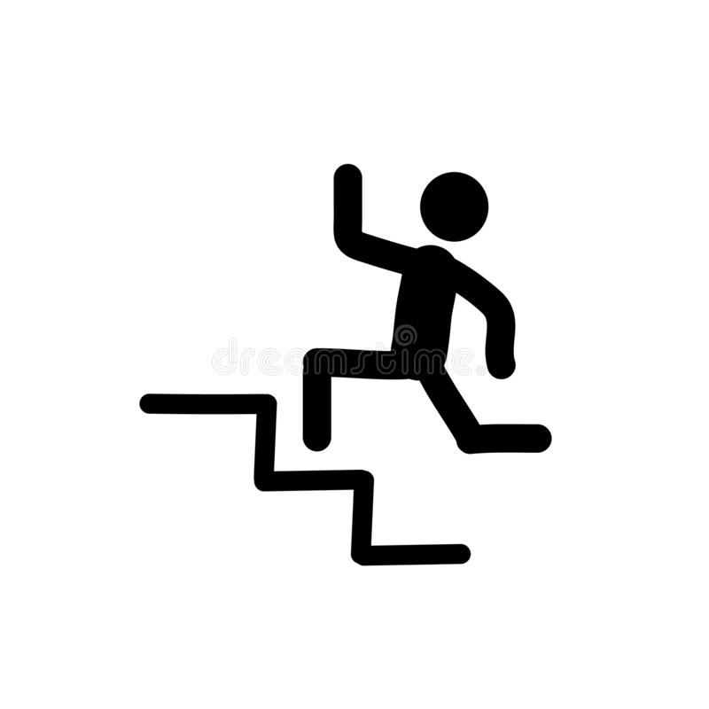 Man running in stairways,  accomplished human trendy filled icons,  accomplished human icon on white background stock illustration