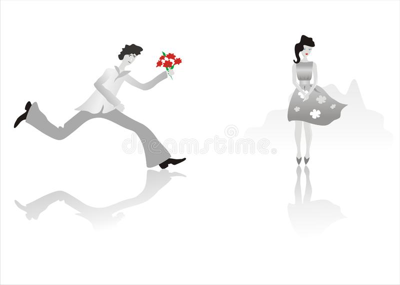 Download Man running to girl stock vector. Illustration of waiting - 9428309