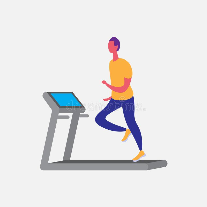 Man running treadmill cartoon character sport male activities isolated keep fit healthy lifestyle motivation concept stock illustration
