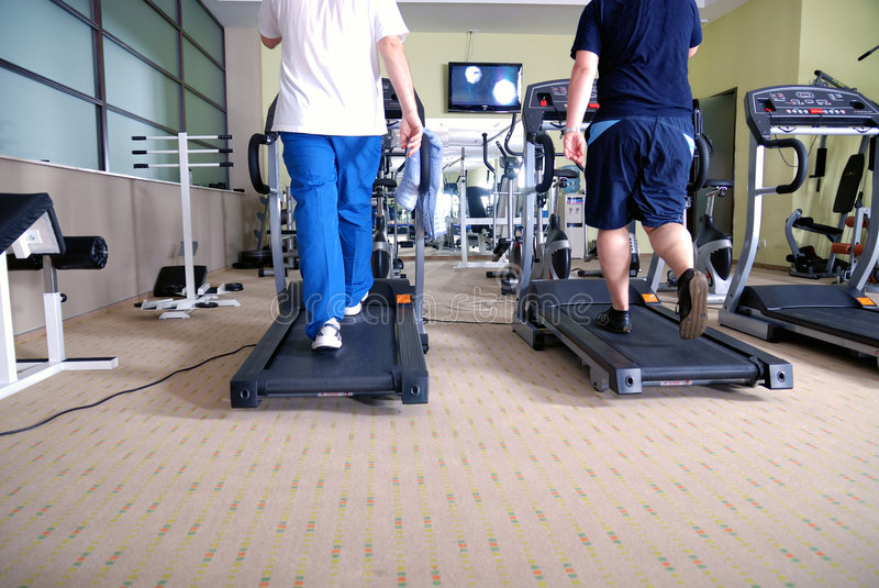 Download Man Running On Treadmill In Gym Stock Image - Image: 7419057