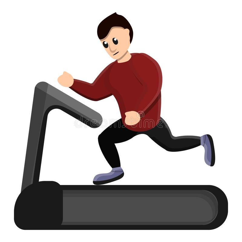 Man running at treadmill icon, cartoon style. Man running at treadmill icon. Cartoon of man running at treadmill vector icon for web design isolated on white royalty free illustration