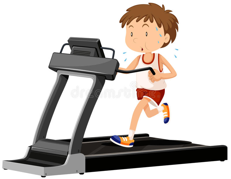 Man running on treadmill royalty free illustration