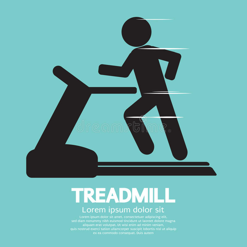 Man Running On A Treadmill. Vector Illustration royalty free illustration