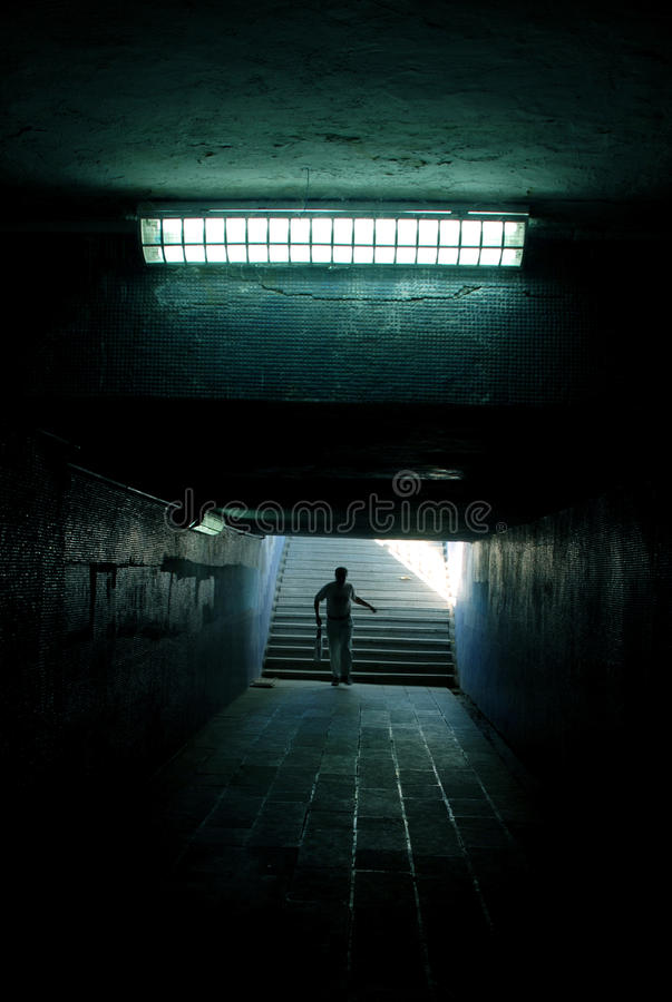 Download A Man Running In The Tunnel Stock Image - Image: 10391959