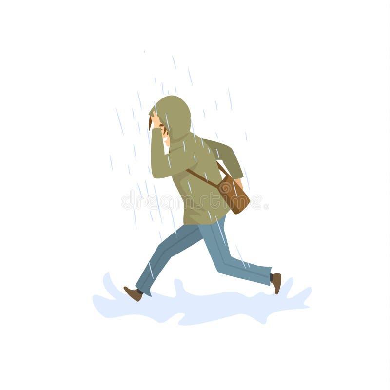 Man running under the strong rain. Vector illustration isolated stock illustration