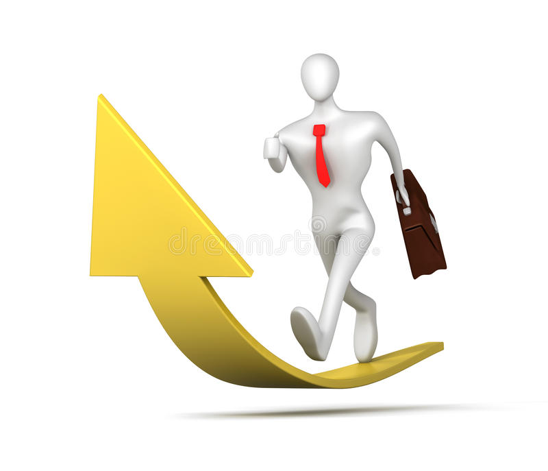 Man running up to success. 3d man running up to success vector illustration