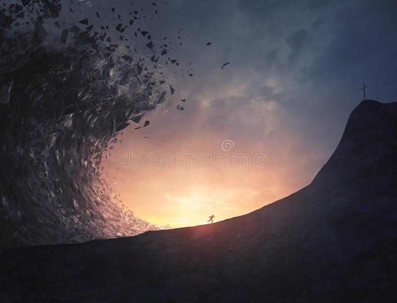 Man runs from large tsunami. A man runs away fast from a large rock tsunami and towards a cross stock photography