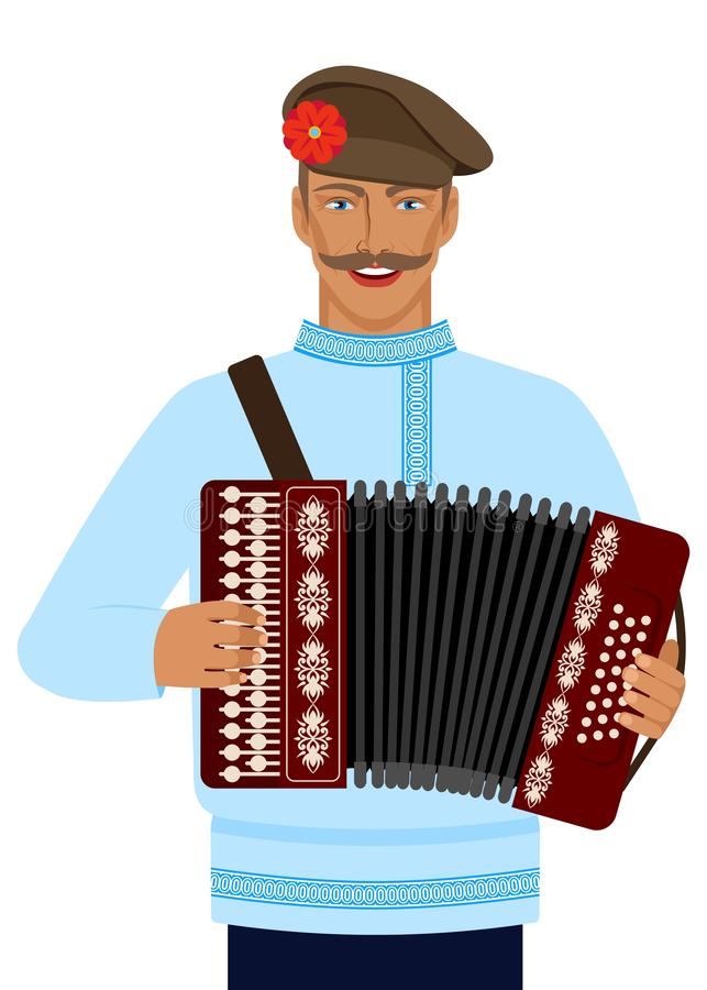 Man in Russian national costume with accordion stock illustration