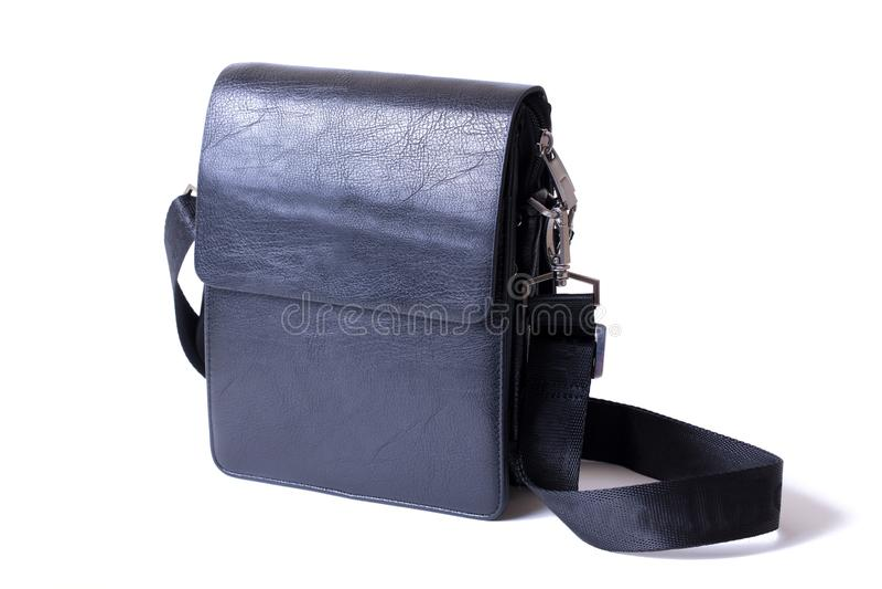 Man`s black handbag. Very stylish bag for men. Fashionable bag for the mannn stock photos