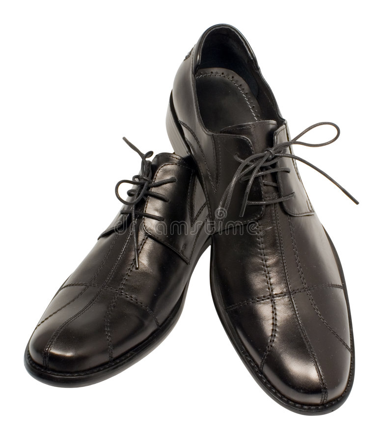 Man's black shoes royalty free stock image