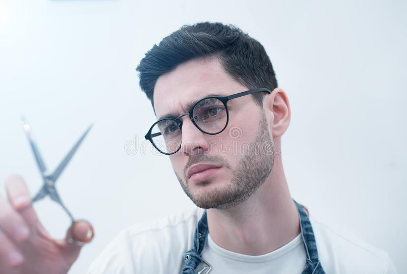 Man& x27;s body care. Self-styling hair. stock image
