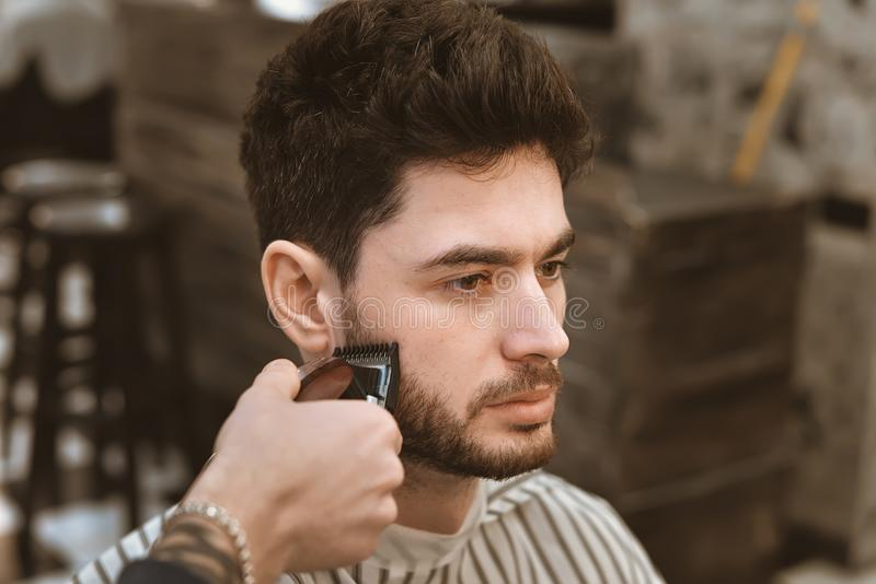 Man& x27;s body care. Self-styling hair. stock photo