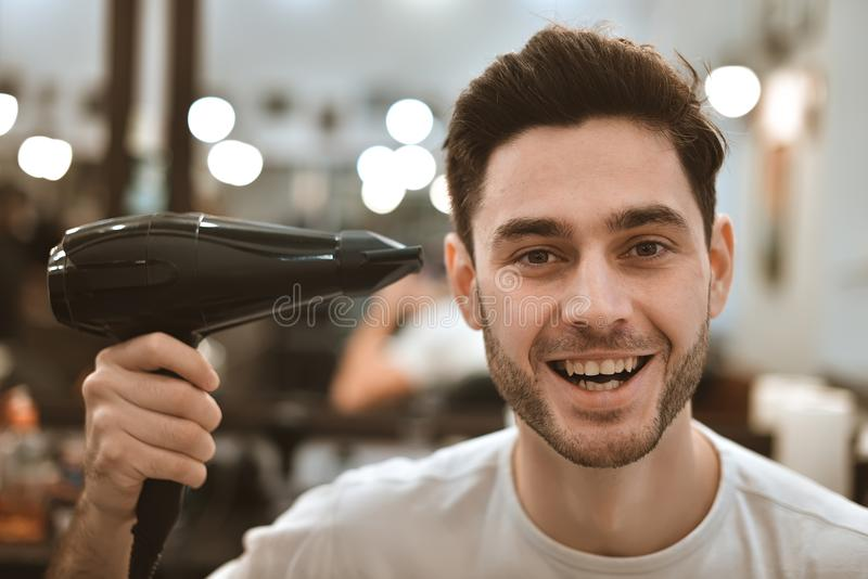 Man& x27;s body care. Self-styling hair. stock photography