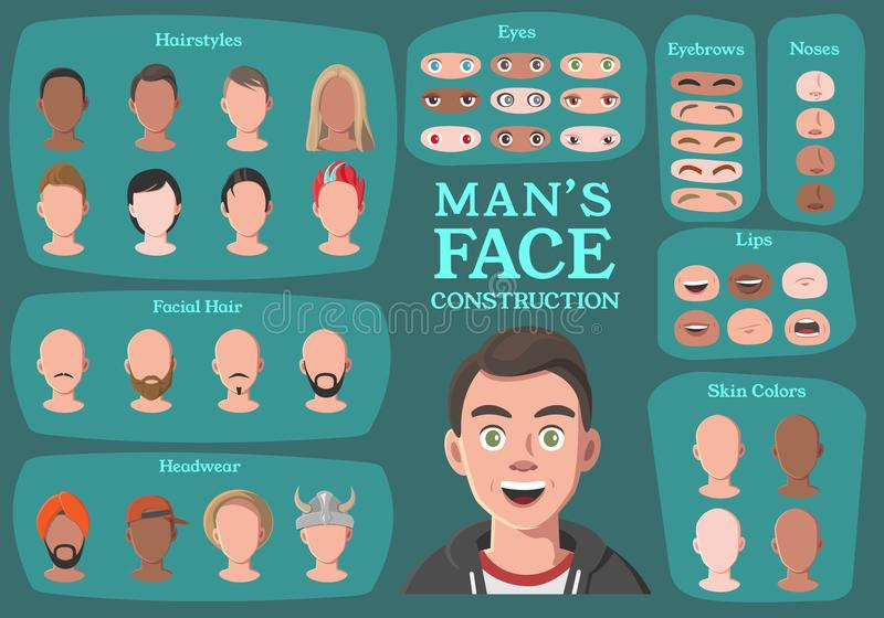 Man`s Character Constructor. From Housewife to Hipster vector illustration