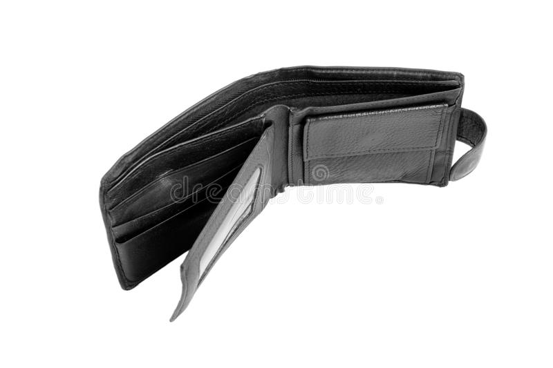 A man`s empty leather black wallet, isolated on a white background. The saturated black purse. Poverty, bankruptcy concept. royalty free stock image