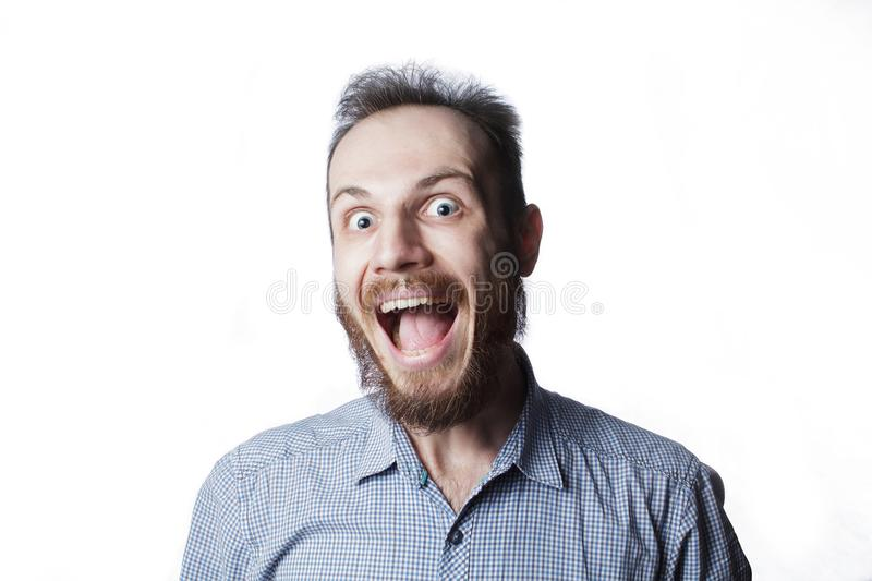 Man`s expression funny face royalty free stock photography