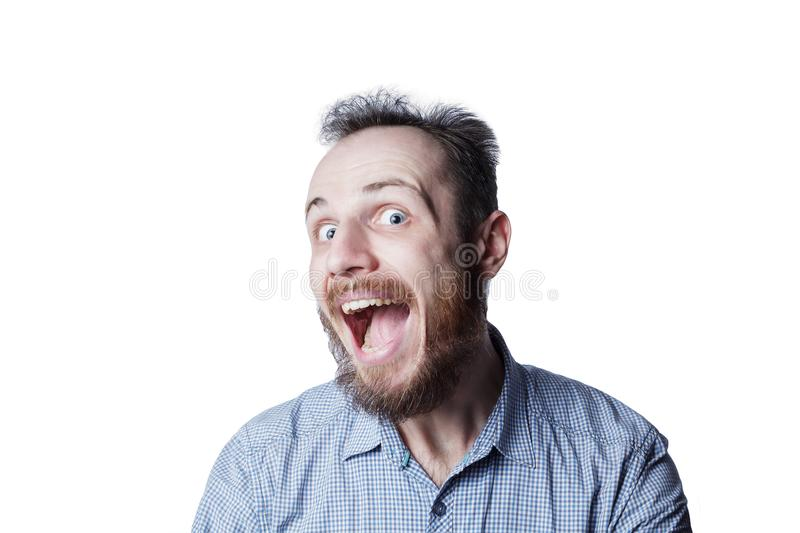 Man`s expression funny face stock photo