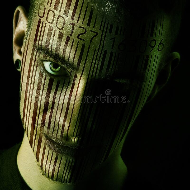 Man's Face With Barcode Free Public Domain Cc0 Image