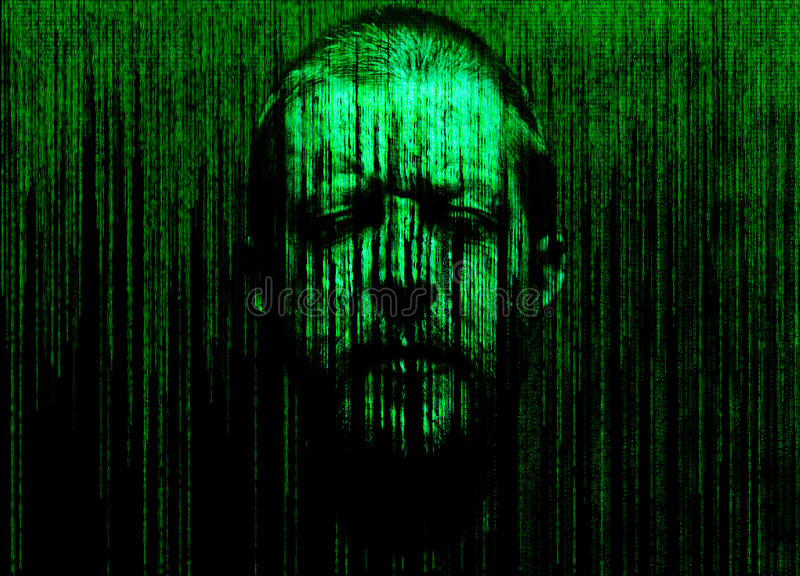 Man's face with eyes closed, immersed in a matrix of binary code. Abstract man's face with eyes closed, immersed in a matrix of binary code royalty free stock photos