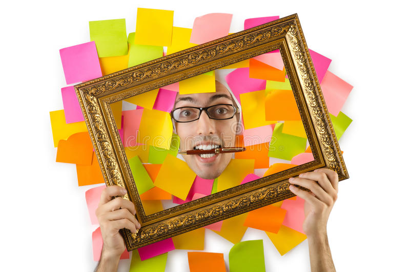 Download Man's Face Through Paper And Reminders Stock Image - Image: 26841889