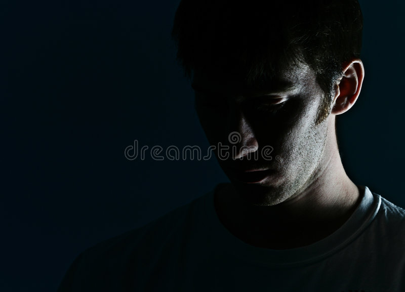 Man's Face in Shadow royalty free stock photography