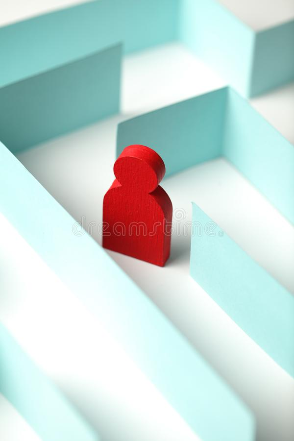 Man`s figure in a maze, problem and solution royalty free stock photos