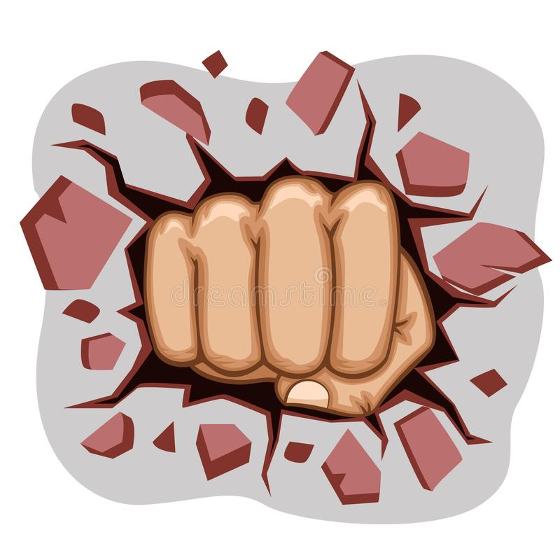 The man`s fist punched a hole in the wall. vector illustration