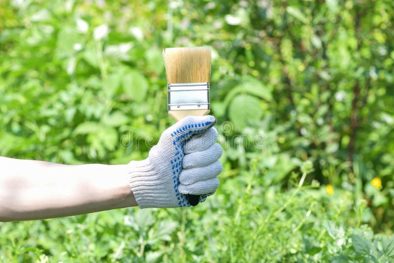 A man`s gloved hand holds a wide brush for painting on a green background royalty free stock image